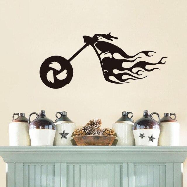 Flaming Bike Wall Sticker Motocross Simbolo di Arte Decalcomanie ...