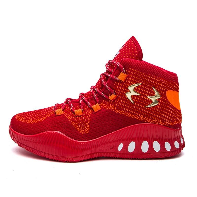 все цены на BasketBall Shoes For Men Women Outdoor Sports High Top Cushion Sneakers Air Mesh Breathable Basket Femme Hombre Red Black онлайн