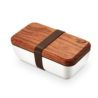 Hot Sale Japanese Ceramic Lunch Box Procelain Bento LunchBox With Wood Lid Portable Food Container 550ml