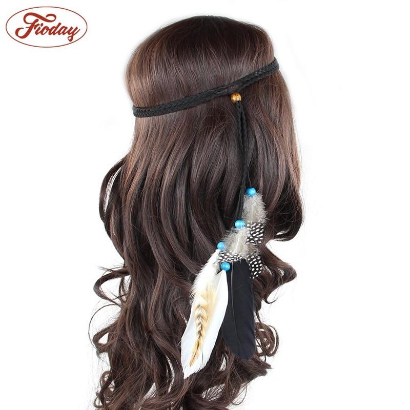 2pcs Indian Feather Headband Hair Accessories 2018 Festival Women Hippie Adjustable Headdress Bohemia Peacock Feather Hair 16D25