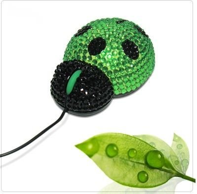Free Shipping/ Crystal computer mouse, fashion diamond mouse/crystal mouse/lady beetle mouse
