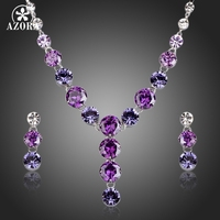 AZORA Charming Colorful Swiss Cubic Zirconia Pendant Necklace And Drop Earrings Jewelry Sets TG0165
