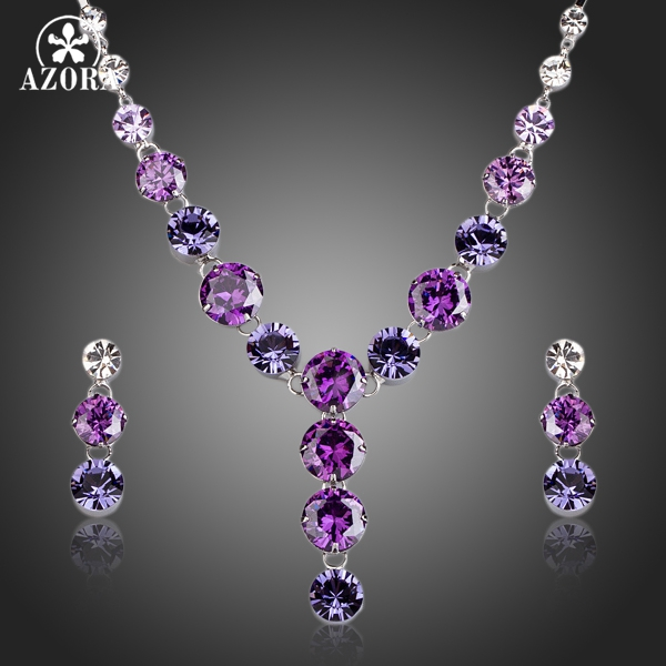 AZORA Charming Colorful Cubic Zirconia Pendant Necklace and Drop Earrings Jewelry Sets TG0165 цены
