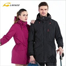 FreeShipping-2016 Laynos Lovers Autumn/Winter Outdoor Waterproof Breathable Mountaineering 3in1 Mid-long Fleece Jackets 150A288A(China)