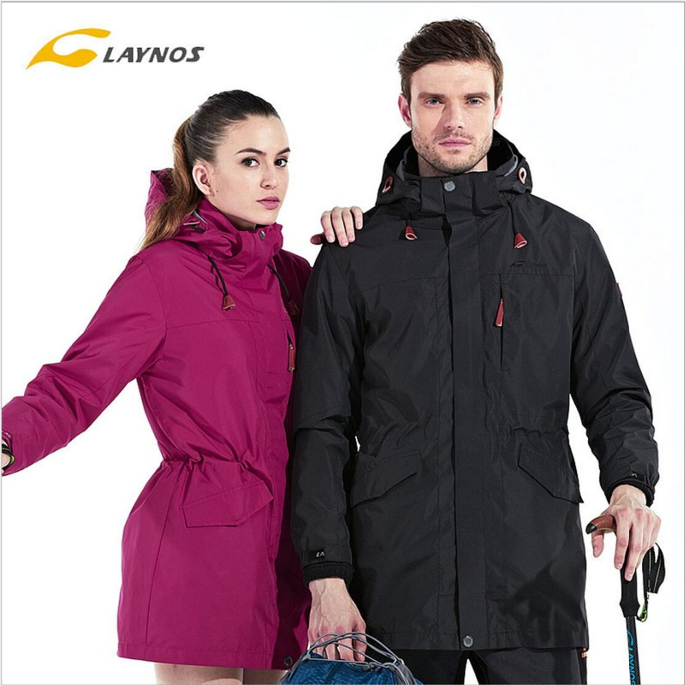 FreeShipping-Laynos Lovers Autumn/Winter Outdoor Waterproof Breathable Mountaineering 3in1 Mid-long Fleece Jackets 150A288A free shipping 2016 laynos men spring autumn winter outdoor waterproof ski wear triad velvet two piece fleece jackets 150a263b