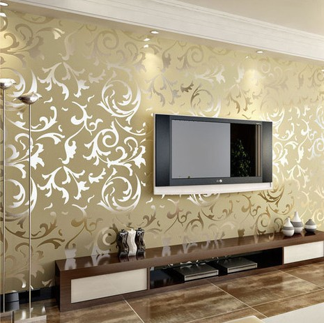 Gold / Silver / Cream Flock Velvet Victorian Damask Wallpaper Roll Luxury  Leaf Wall Paper Homes Living Room Wallcoverings W011 In Wallpapers From Home  ...