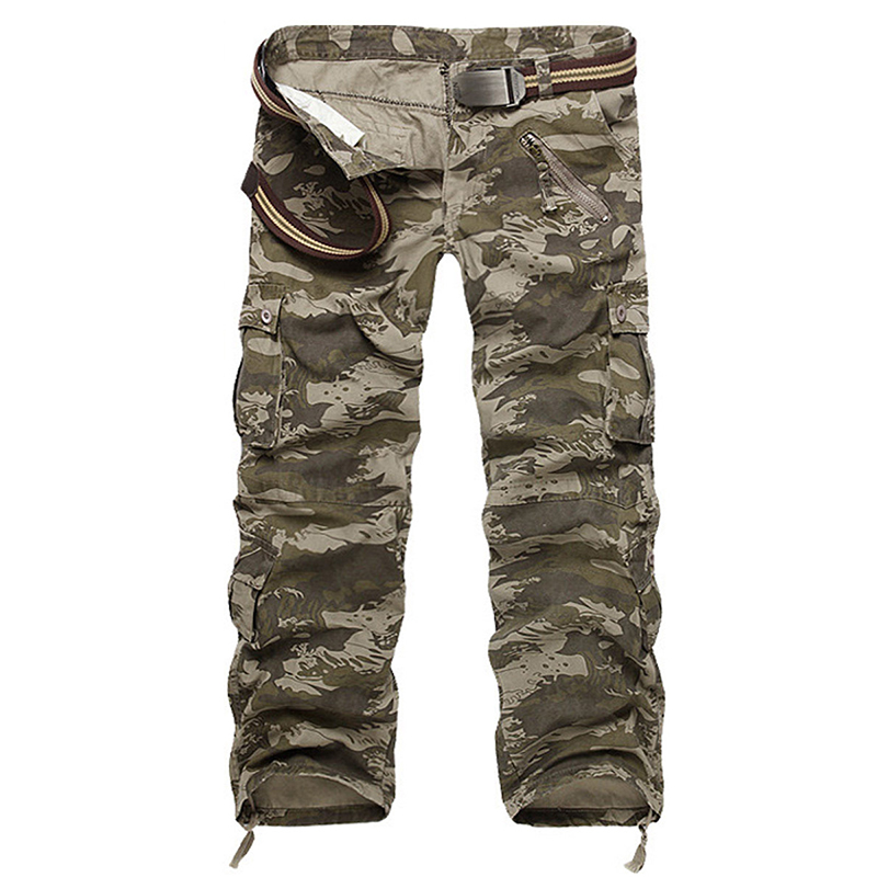 Cargo Pants Men High Quality Cotton Ripple Camouflage Overalls Mens Long Trousers Military
