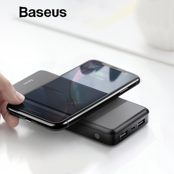 Baseus 10000mAh Wireless Charger Power Bank For iPhone Samsung Huawei Xiaomi Powerbank Dual USB Charging External Battery Pack Power Bank