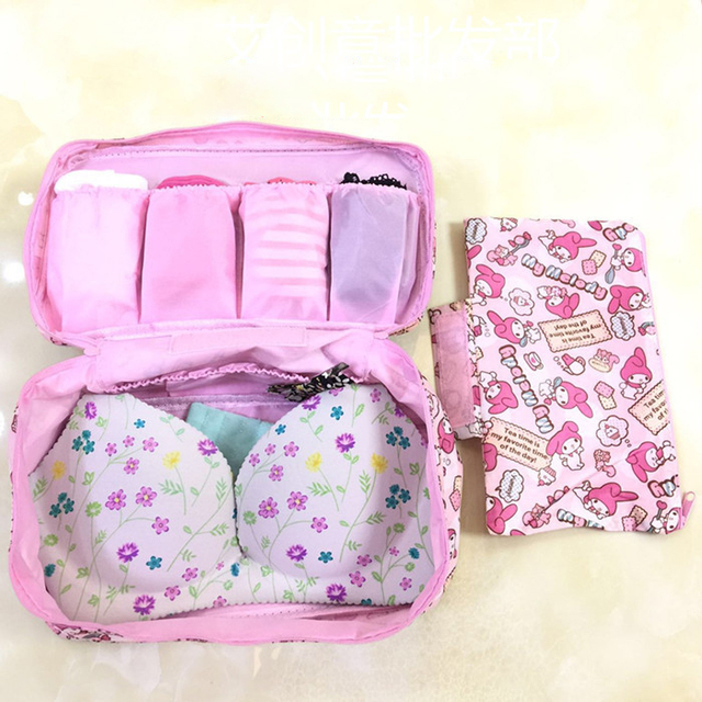 5 Pcs Hello Kitty My Melody Twin Stars Minnie Doraemon Travel Multipurpose  Makeup Socks Storage Bags Portable Zipper Bag c2562be1e4a67