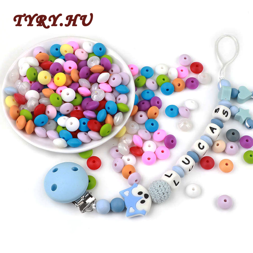 TYRY.HU 30Pcs Food Grade Lentil Silicone Beads 12mm Baby Teething BPA Free Baby Toy Tooth DIY Teether Necklace Bead Jewelry