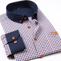 2016 New Plaid men casual shirts patchwork long sleeve mens shirts brand quality slim fit cotton dress shirts male free shipping