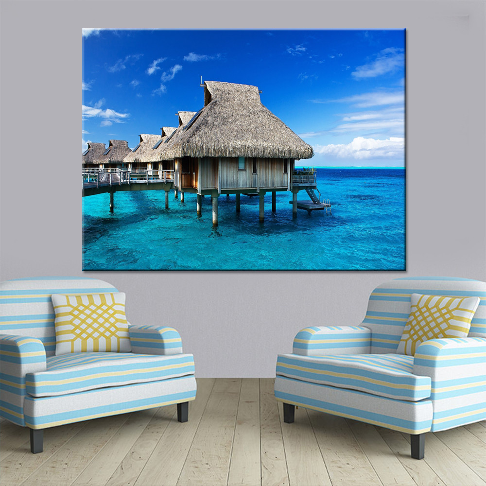 Mordern Canvas Wall Art Pictures HD Prints 1 Piece/Pcs Blue Sea Posters Tropical Ocean Island Hut Paintings Home Decor Framework