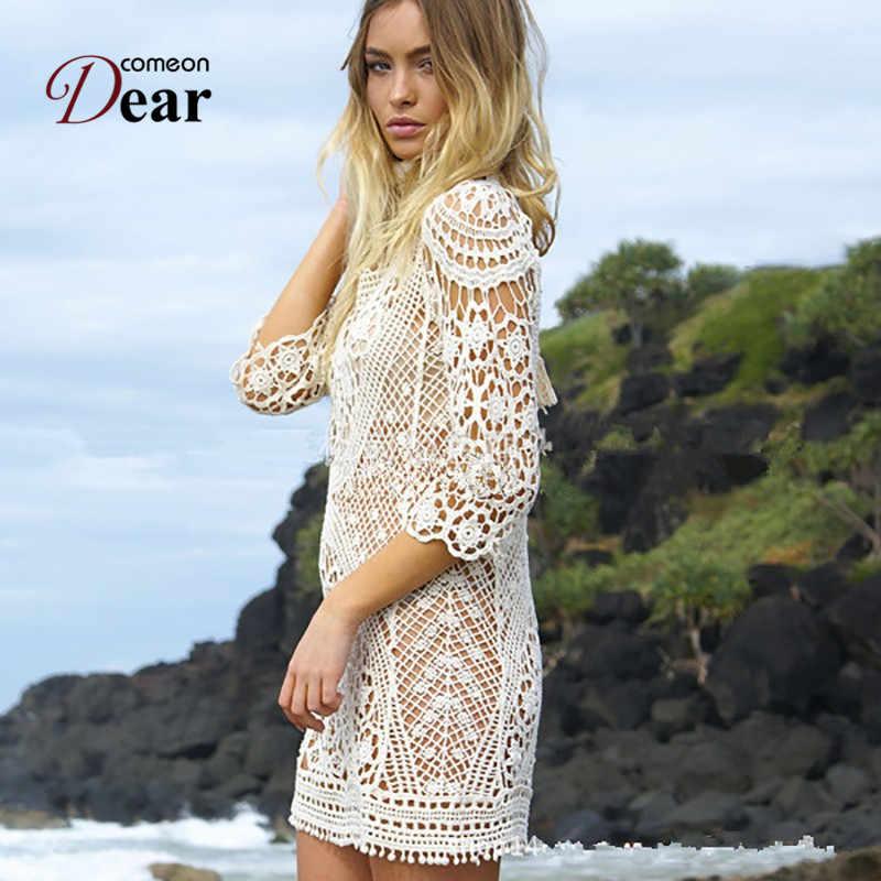 0937fe90d BJ330 Comeondear sexo mujer ahueca hacia fuera blanco Mini Vestido de  encaje elegante Bikini tejido traje de baño Vestido de playa de verano sin  ...