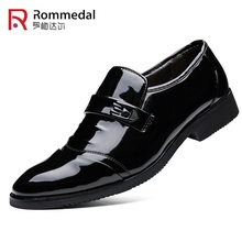 Rommedal Classic business men shoes splite leather smooth formal mans black moccasins slip-on handmade british footwear