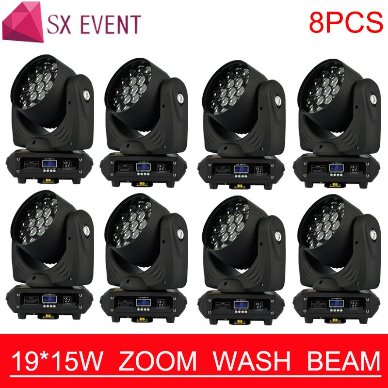 19*15W Osram RGBW 4in1 LED Moving Head Light Perfect Zoom Wash Moving Head DMX DJ Stage Disco Light LED Wash beam zoom 8pcs/lots