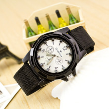 Men's Fashion Sport Braided Canvas Belt Watch Analog Wrist Watch#free shippingmen girl sport hot sale fashion boy cute gift 2
