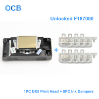 Brand New F187000 Unlocked Printhead DX5 Golden Face Print Head For Epson 7800 9800 9880 4400 4800 7400 9400 R1800 R1900 R2000