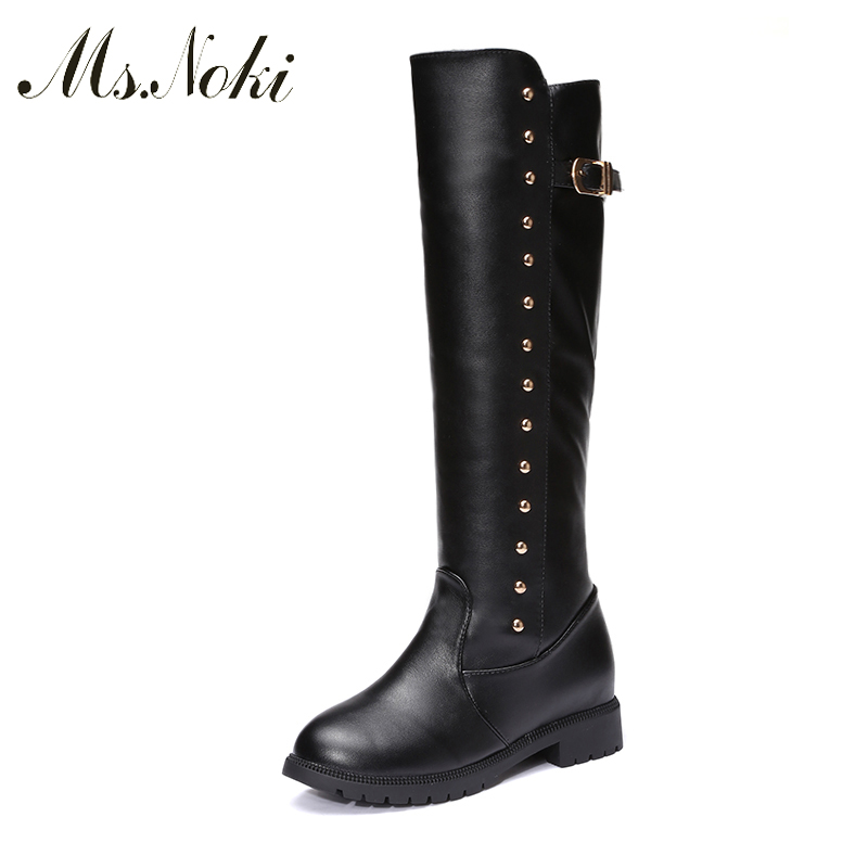 Ms Noki Square heel Warm inside leather boots Mid-Calf long boots square toe low heels spring autumn women boots fashion Women double buckle cross straps mid calf boots