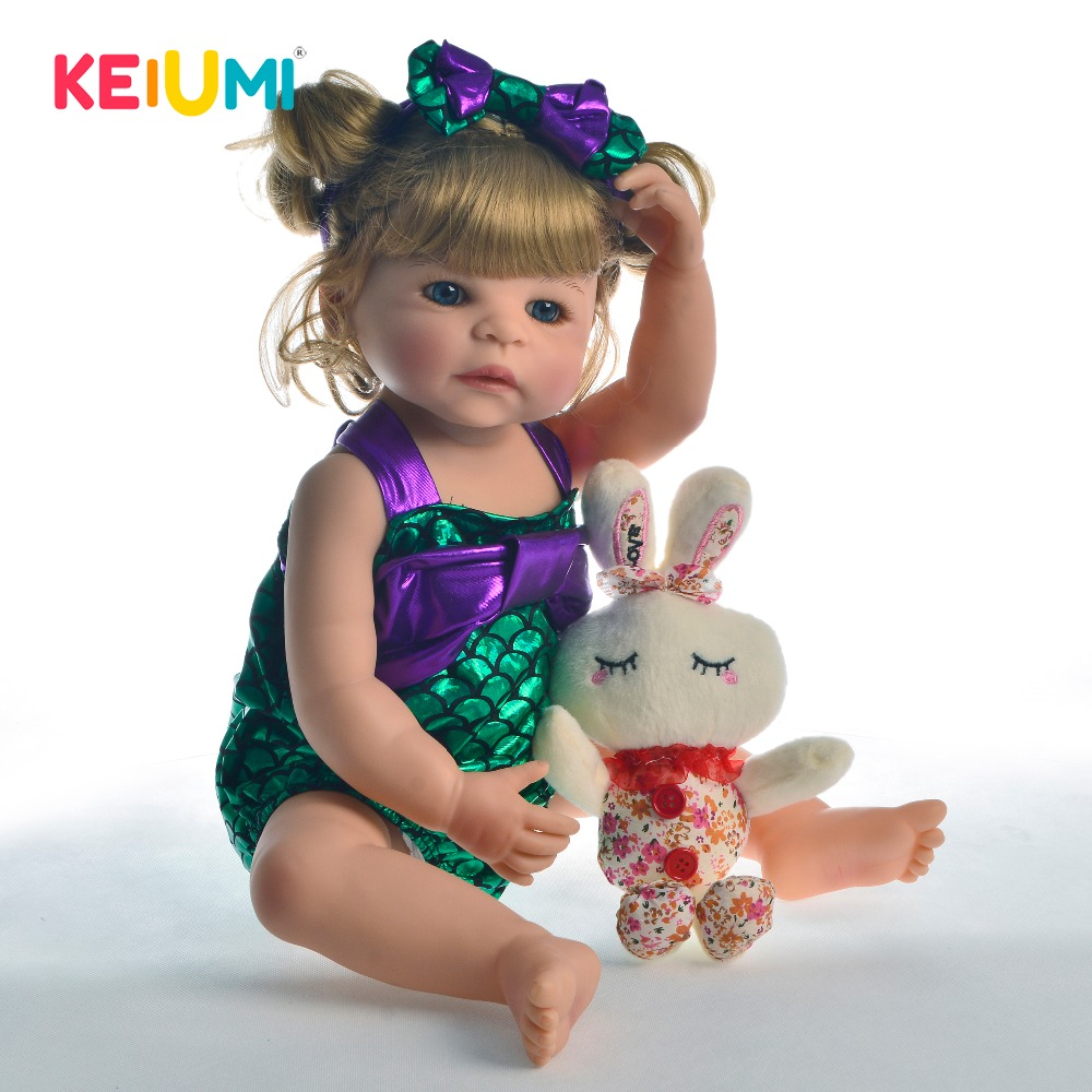 KEIUMI Lifelike Full Vinyl Body Reborn Doll 22 55 cm Handmade Princess Girl Baby Toy Doll
