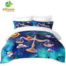 Купить с кэшбэком Cartoon Libra Constellation Bedding Set Dreamlike Galaxy Duvet Cover Set Kids Colorful Bedclothes Pillowcase Home Decor 3Pcs D35