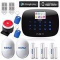 Kerui andorid ios app controle remoto sem fio lcd gsm sistema de alarme de discagem automática sms casa escritório assaltante intruso sistema de alarme de segurança diy