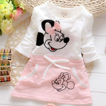 The New 2018 Children's Mini  Cartoon, Short Sleeves, Baby Cotton Pattern,Cloth, Sweet A Word Casual Dress.