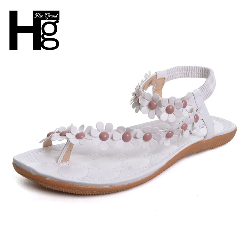 HEE GRAND 2017 Bohemia Women Sandals Floral Strap Flat with Beach Shoes Woman Causal Flip Flops XWZ442 hee grand soft transparent jelly women sandals flat with crystal colorful rhinestones butterfly knot beach shoes xwz3446