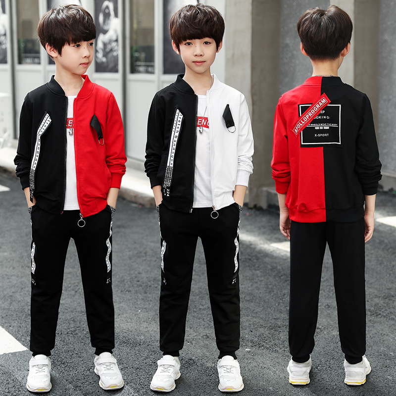Children's clothing boy suit 2019 new autumn girl sports suit children's spring three piece Jacket + T shirt + pants tide