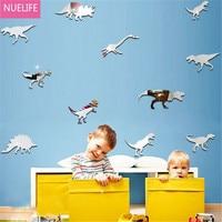 60pcs Cartoon dinosaur pattern 3D mirror stickers kids room living room bedroom TV sofa background decorative wall stickers N5