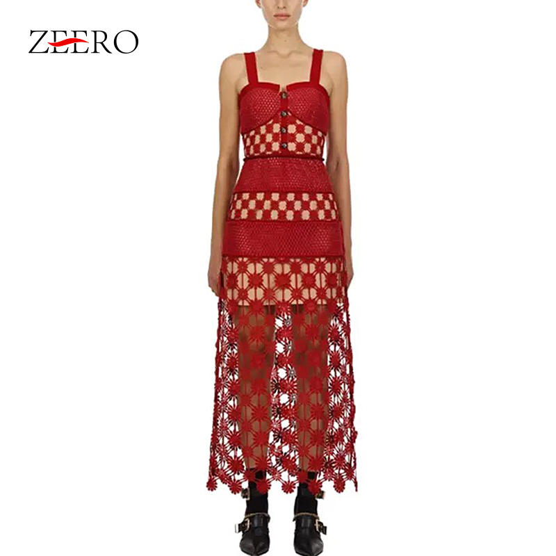 2019 自己女性ドレス滑走路赤レースロングパーティードレス花中空アウトニットパッチワークスパゲッティストラップレースドレス  グループ上の レディース衣服 からの ドレス の中 1