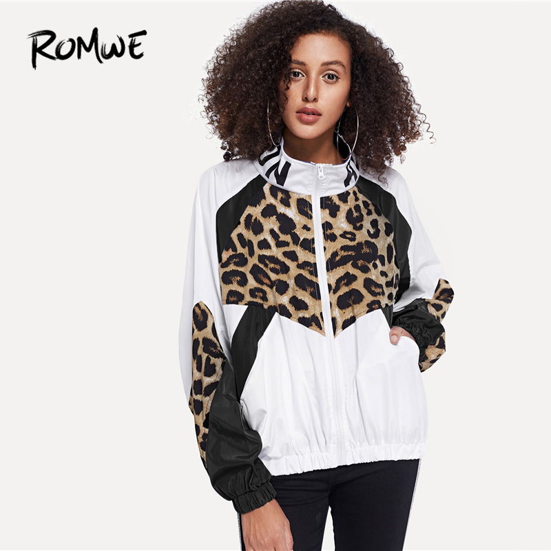 ROMWE Letter And Leopard Print Jacket 2019 Casual White Colorblock Spring Autumn Outer Zipper Stand Collar Long Sleeve Coat