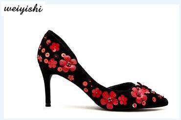 Fleurs Rouge Saling 23 Noir Livraison Chaud Chaussures Gratuite Femmes Suede wrqqxaSIX