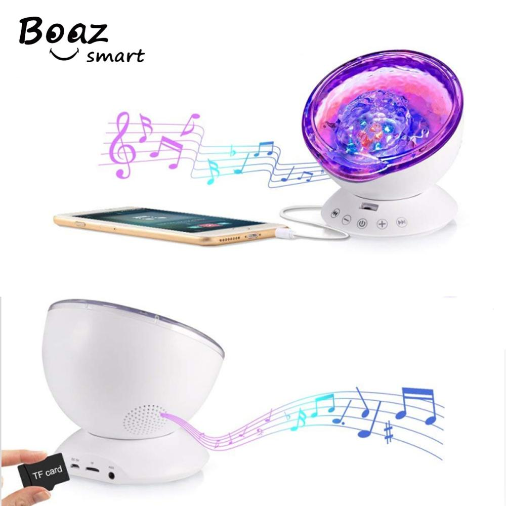 BOAZ Ocean Wave Starry Sky LED Night Light Projector Novelty Lamp with Music Player USB Nightlight For Baby Children