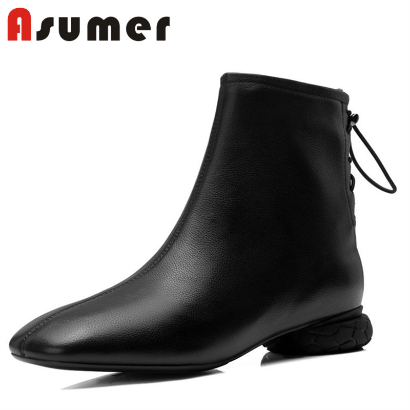 ASUMER NEW 2018 fashion strange style ankle boots for women unique winter boots square toe comfortable genuine leather bootsASUMER NEW 2018 fashion strange style ankle boots for women unique winter boots square toe comfortable genuine leather boots