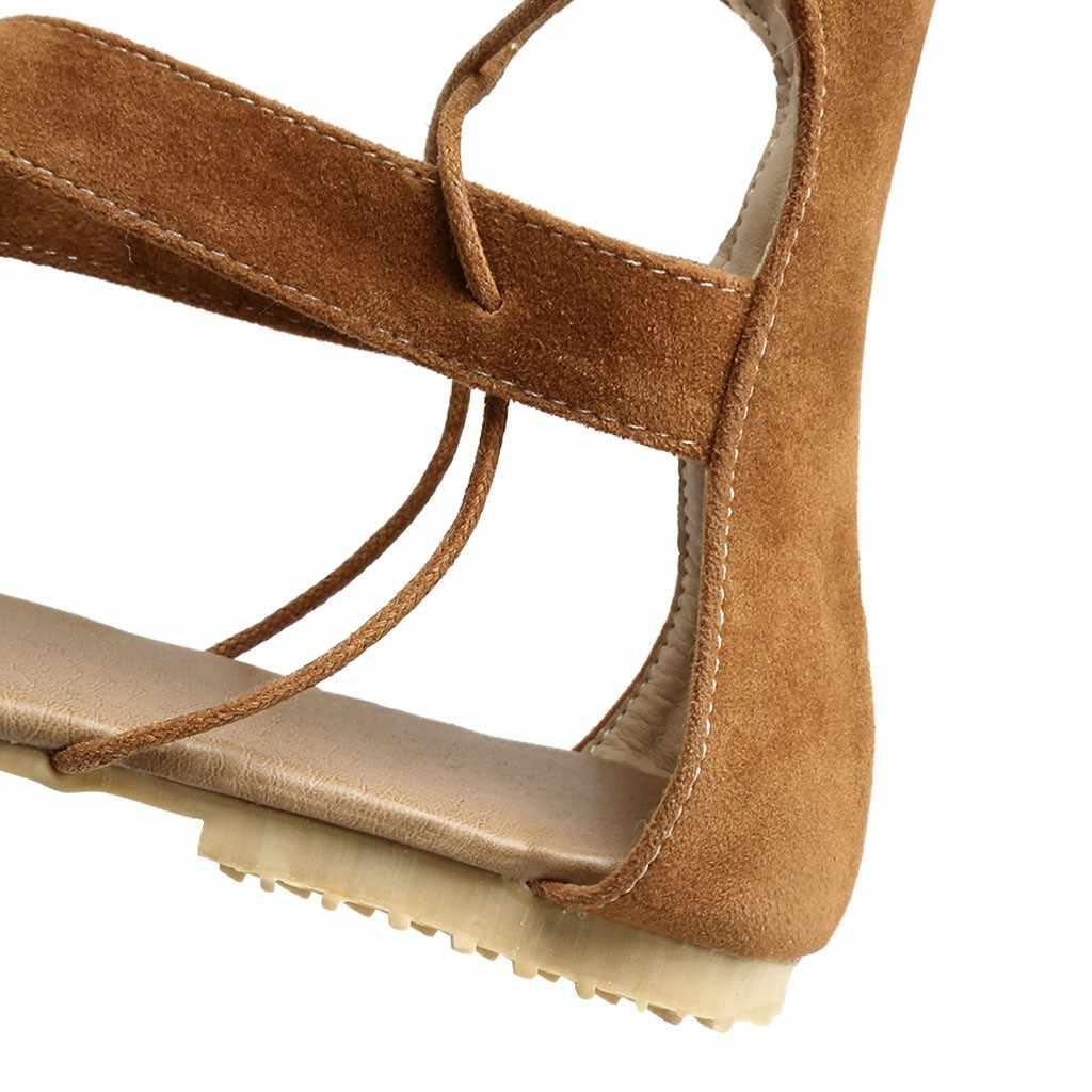 ผู้หญิงเซ็กซี่ Gladiator โรมัน Hollow Out เข่ารองเท้าแบนรองเท้าแตะส้นรองเท้าส้นสูงแบนเปิด Toe Elegant ฮาวายนุ่มรองเท้า