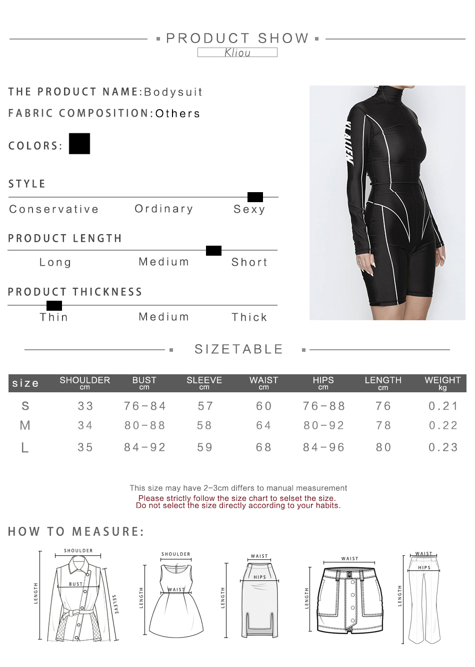 Kliou 2019 new women turtleneck full sleeve fitness playsuit white striped patchwork letter print push up skinny casual bodysuit 97