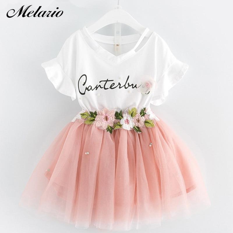 Обувь для девочек платье 2018 бренд детская одежда с рукавом-бабочкой футболка с надписью + цветочный платье вуалью 2 шт. для Комплекты для девочек детское платье