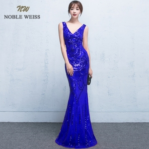 Image 4 - evening dresses 2019 sexy v neck mermaid balck/blue/red sequin women formal dress floor length in stock evening gown