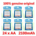 24 pcs/6 cartão enelong durável aa baixa auto-descarga da bateria 1.2 v 2100 mah ni-mh baterias recarregáveis baterias de 1.2 volts 2a bateria