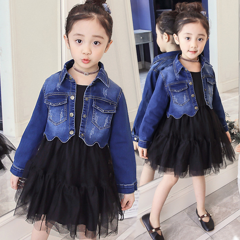 Autumn Kids Clothing Set for Girls 4 6 8 10 12 Years Black Mesh Party and Fashion Jeans Two Pieces Sets 5M43A