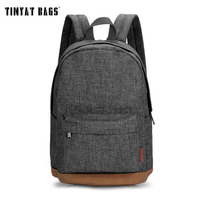 Men Male Canvas College School Student Backpack Casual Rucksacks Travel Bag T101 Gray