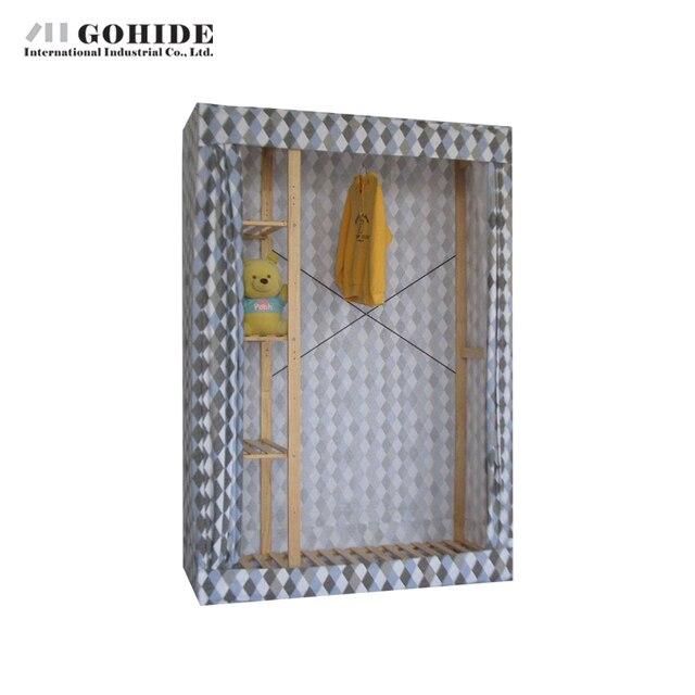 Gohide 132 см Широкий Дома Простой Шкаф Двойной Большой Шкаф Для Хранения Шкаф Для Хранения Вешалки Шкафы Мебель Спальни, Гардероб