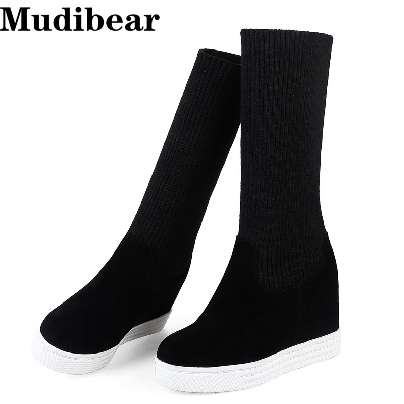 Mudibear Snow Boots Thick Fur Inside Winter Keep Warm Women Boots Over Knee High Heel Boot Woman Shoes Fashion Sexy size 35-40 2017 sexy thick bottom women s over the knee snow boots leather fashion ladies winter flats shoes woman thigh high long boots