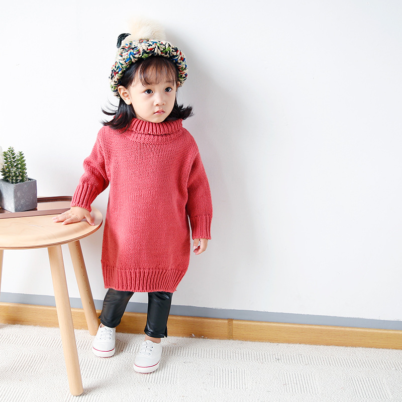 Honeycherry 2017 New Winter Sweater Girl High Necked Long Lapel Preppy Style Kids pullover Kids Sweaters