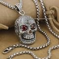 Huge & Heavy Red CZ Eyes Skull 925 Sterling Silver Mens Biker Pendant 9E007 Necklace 24inch