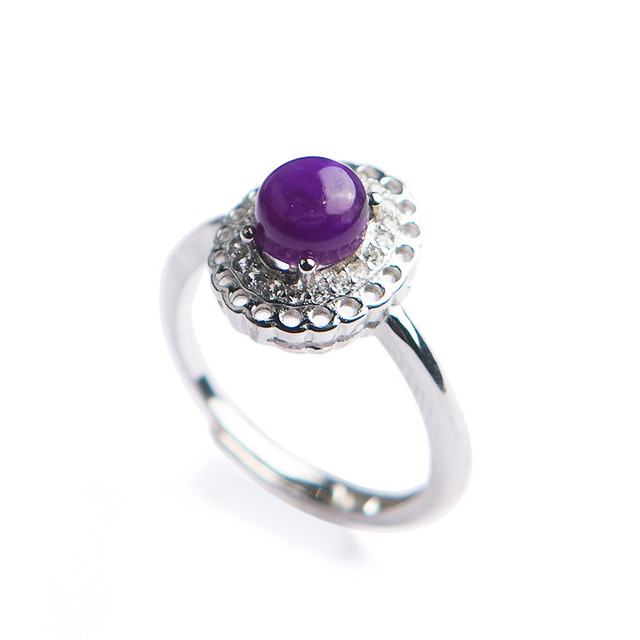Genuine Natural sugilite Gems Purple Crystal Round Stone Beads Charm Lady Adjustable Size Sliver Ring 6*6mm