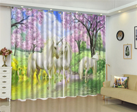 HD Curtain Flowers Blooming Unicorn Stroll 3d Animal Curtains Customize Your Favorite Elegant Practical Curtains