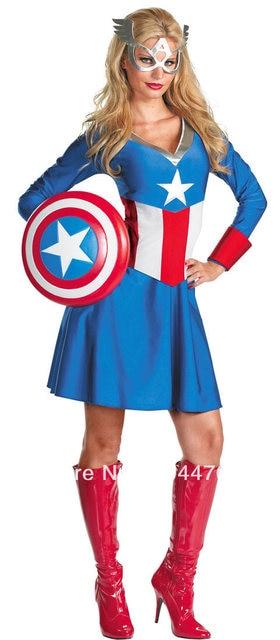 Femme captain america costume fille femmes style captain america costume pour halloween ou toute - Captain america fille ...