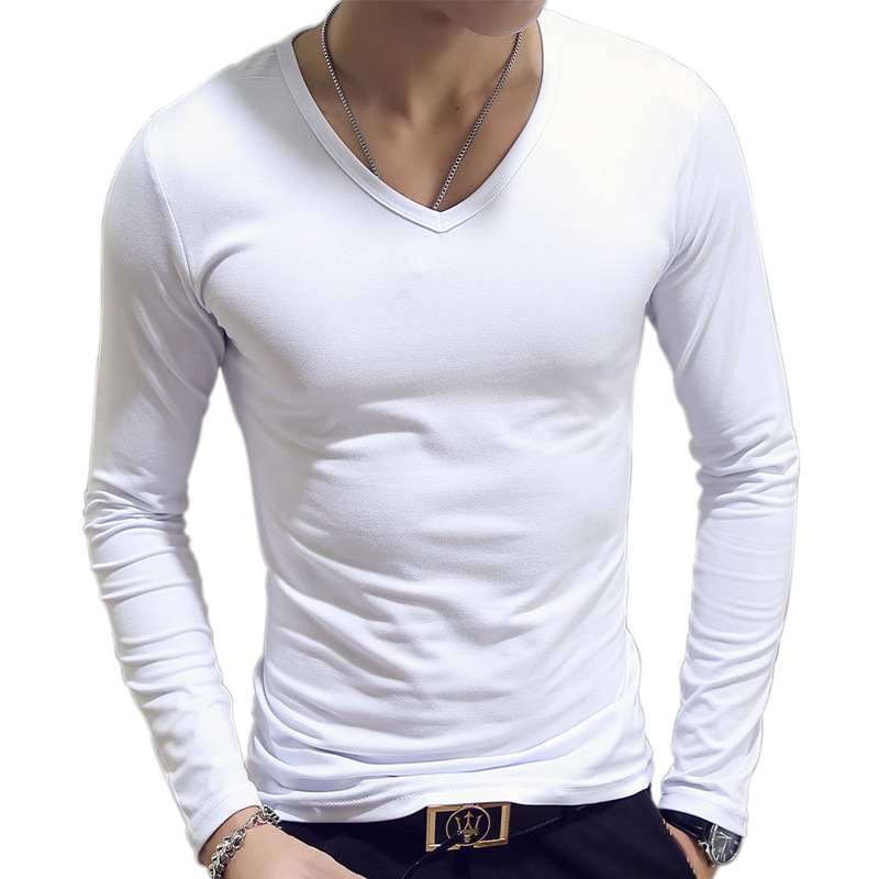 Simple Long Sleeve Spring Autumn Cultivate One's Morality Men's T-shirt Sets V-neck Solid Polyester White Grey Blue T Shirt Men