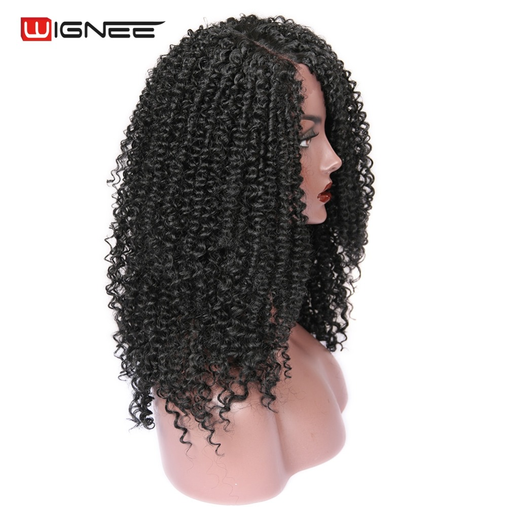 Wignee Side Part Lace Front Synthetic Wigs For Women Afro Kinky Curly Hair Heat Resistant Natural